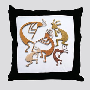 Five Wood Kokopelli Throw Pillow