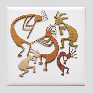 Five Wood Kokopelli Tile Coaster