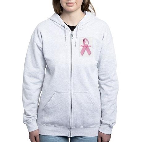 Breast Cancer Survivor Ribbon Women's Zip Hoodie