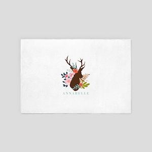 Rustic Deer Antler Floral Monogram 4' x 6' Rug