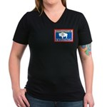 Wyoming-4 Women's V-Neck Dark T-Shirt