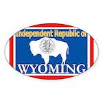Wyoming-4 Oval Sticker