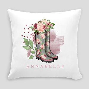 Chic Rain Boots Monogram Everyday Pillow
