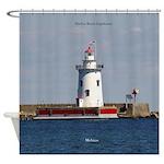 Harbor Beach Lighthouse Shower Curtain