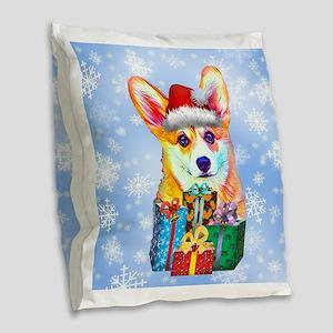 Christmas Welsh Corgi Puppy Burlap Throw Pillow