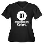 37 Corbett Women's Plus Size V-Neck Dark T-Shirt