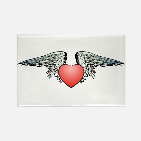 Angel Winged Heart Rectangle Magnet