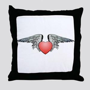 Angel Winged Heart Throw Pillow