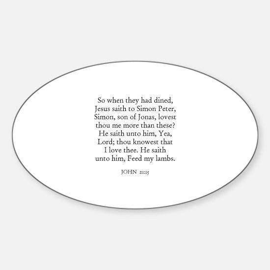 JOHN 21:15 Oval Decal