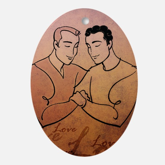 Gay Valentine Love Oval Ornament