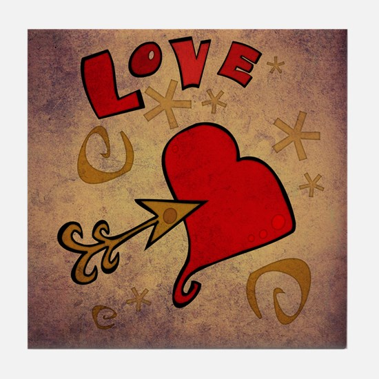 Love and a Big Heart Tile Coaster