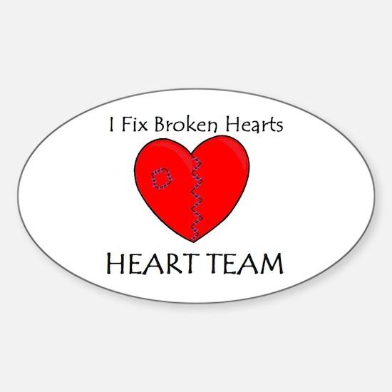Heart Team Oval Decal