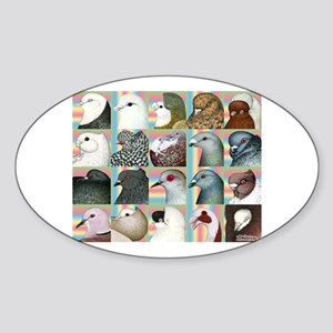 Twenty Pigeon Heads Oval Sticker