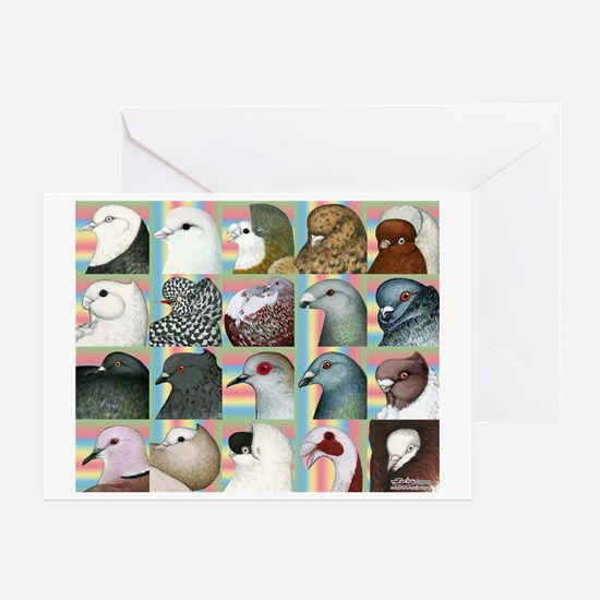 Twenty Pigeon Heads Greeting Card
