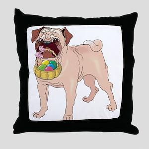 Pug Easter Throw Pillow