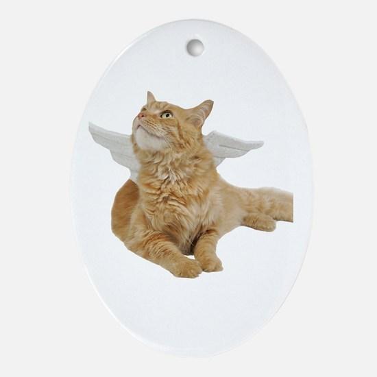 Orange Angel Cat Oval Ornament