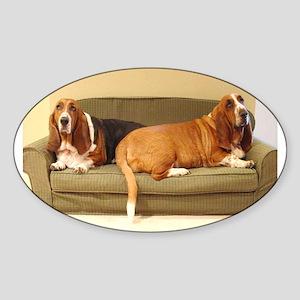 Basset Hounds Oval Sticker