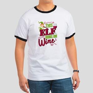 This Elf Runs On Wine Christmas Wine Lover T-Shirt