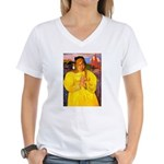 Breton Woman Praying Women's V-Neck T-Shirt