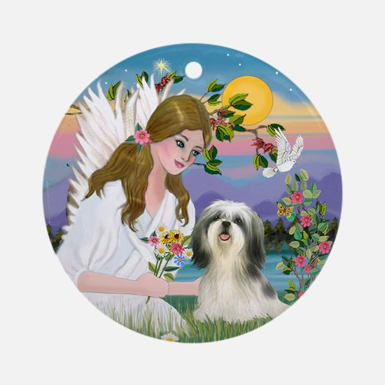 Angel and Shih Tzu Ornament (Round)