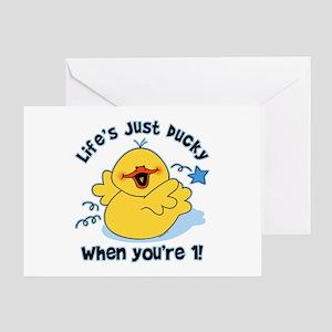 Life's Ducky 1st Birthday Greeting Card