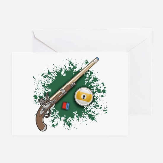 Pistol Cue Greeting Cards (Pk of 10)