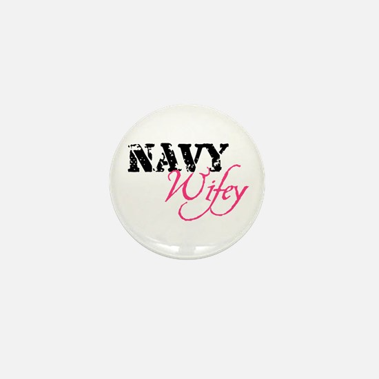 Navy Wifey Mini Button