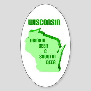 Beer & Deer Oval Sticker