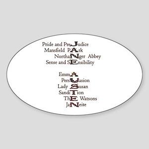 Jane Austen Book 1 Oval Sticker