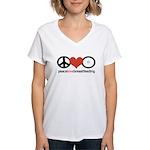 Peace, Love & Breastfeeding Women's V-Neck T-Shirt