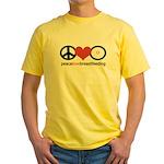 Peace, Love & Breastfeeding Yellow T-Shirt