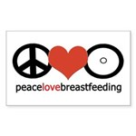 Peace, Love & Breastfeeding Sticker (Rectangle