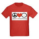 Peace, Love & Breastfeeding Kids Dark T-Shirt