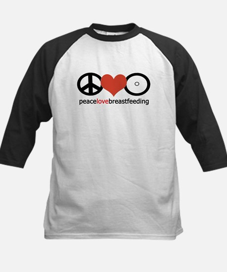 Peace, Love & Breastfeeding Kids Baseball Jersey
