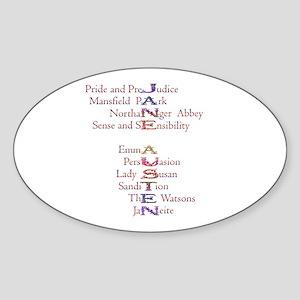 Jane Austen books2 Oval Sticker