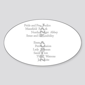 Jane Austen Books 3 Oval Sticker