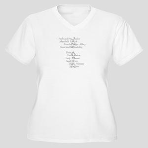Jane Austen Books 3 Women's Plus Size V-Neck T-Shi