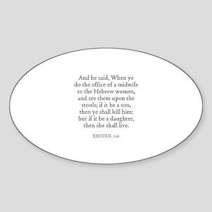 EXODUS 1:16 Oval Sticker