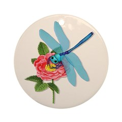 Dragonfly & Wild Rose Ornament (Round)