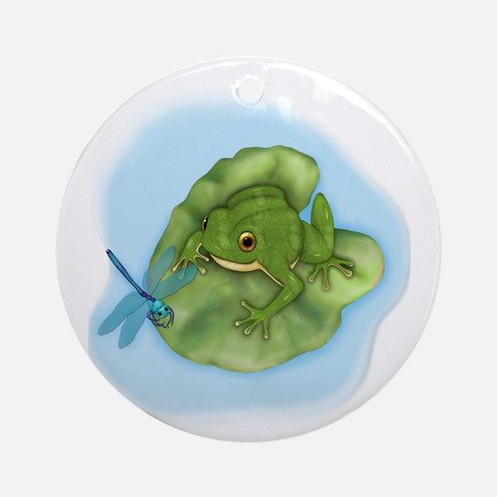 Frog & Dragonfly Ornament (Round)