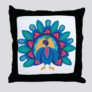 Pretty Peacock Five Throw Pillow