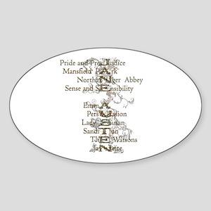 Jane Austen Books 6 Oval Sticker