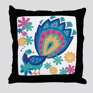 Pretty Peacock Six Throw Pillow