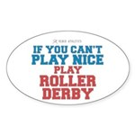 Roller Derby Slogan Oval Sticker