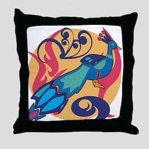 Pretty Peacock Seven Throw Pillow