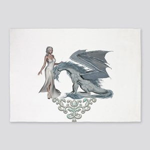 Wonderful fairy with ice dragon 5'x7'Area Rug