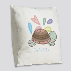 Baby Turtle Personalized Burlap Throw Pillow