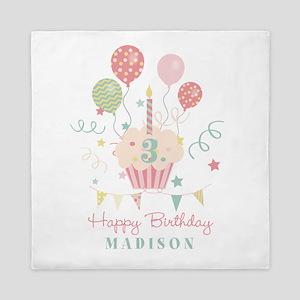 Birthday Cupcake Personalized Queen Duvet
