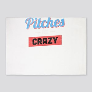 Pitches Be Crazy Funny Baseball Lov 5'x7'Area Rug