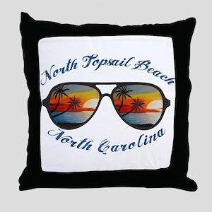 North Carolina - North Topsail Beach Throw Pillow